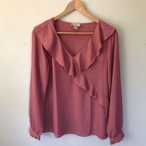 Loft Blush Pink Ruffle Front Long sleeve Blouse